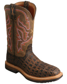 Twisted X Women's Lite Cowboy Caiman Print Western Work Boots - Composite Toe, Brown, hi-res