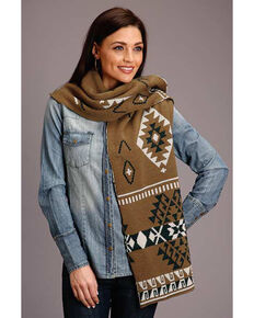 Stetson Women's Gold Aztec Knit Scarf, Gold, hi-res