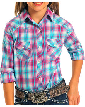 Panhandle Girls' Hot Pink Plaid Western Shirt , Hot Pink, hi-res