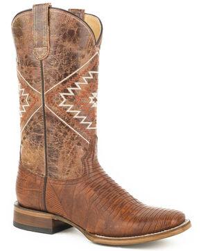 Roper Women's Brown Eroica Lizard Teju Boots - Square Toe, Brown, hi-res