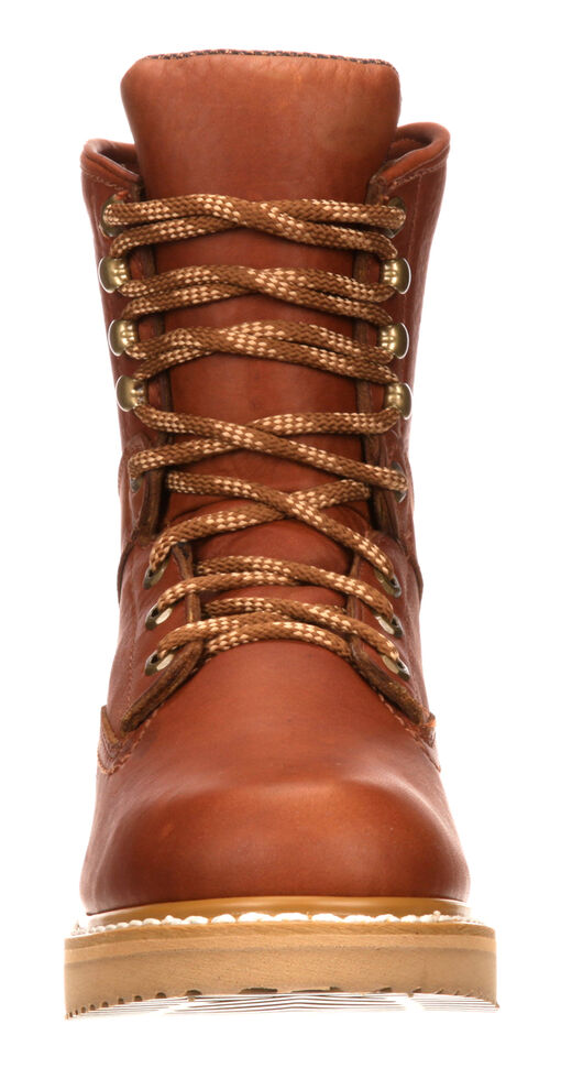"Georgia Men's 8"" Barracuda Gold Wedge Work Boots - Round Toe, Brown, hi-res"