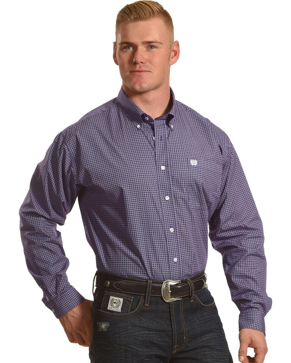 Cinch Men's Purple Geo Plain Weave Print Long Sleeve Shirt, Purple, hi-res