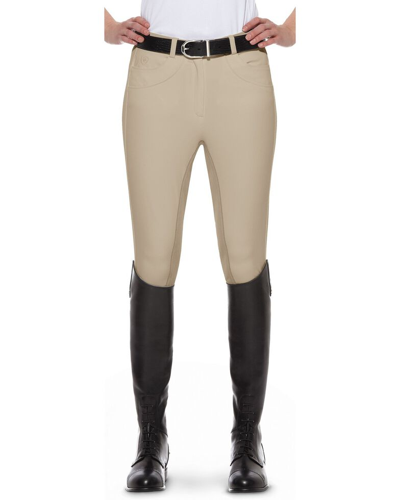 Ariat Women's Olympia Regular Rise Riding Breeches, Beige, hi-res
