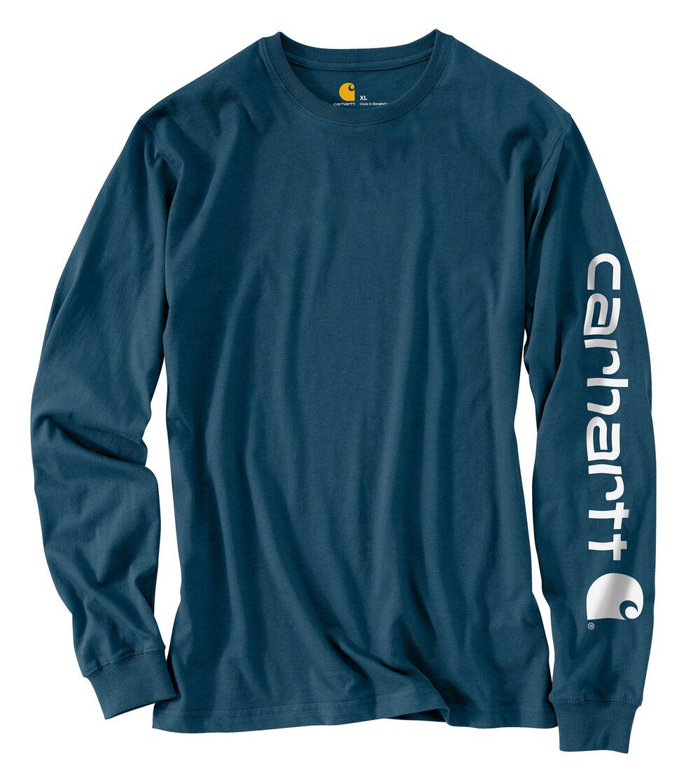 Carhartt Men's Workwear Logo Long Sleeve T-Shirt, Blue, hi-res