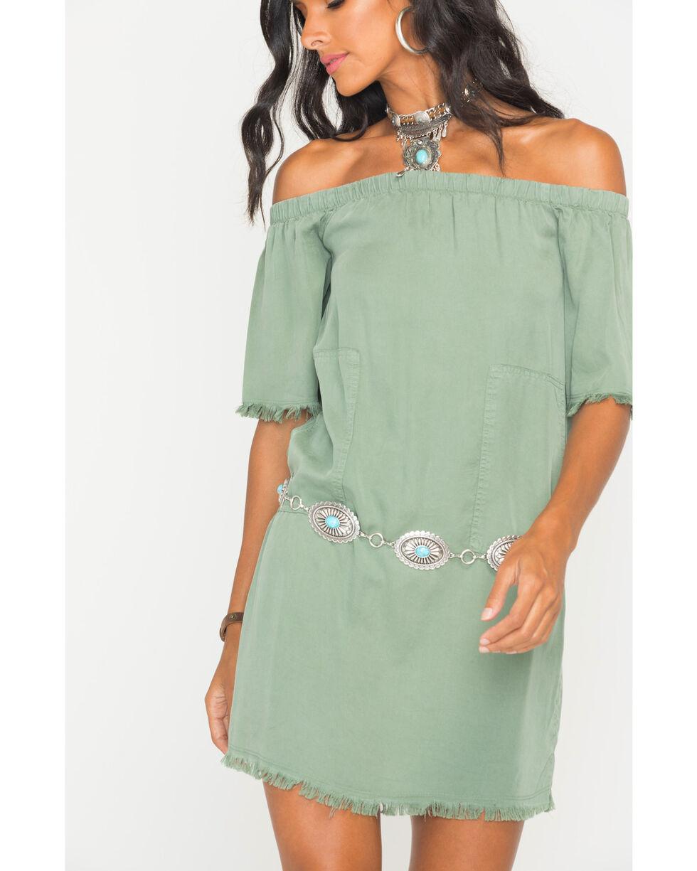 Glam Women's Army Unfinished Hem Off The Shoulder Dress, Green, hi-res
