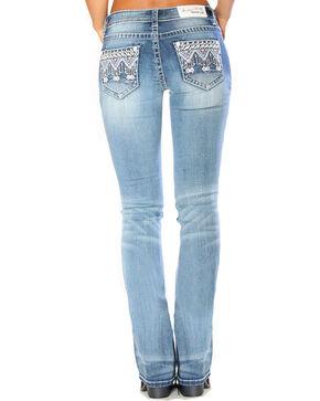 Grace in LA Women's Indigo Tribal Embellished Jeans - Boot Cut , Indigo, hi-res