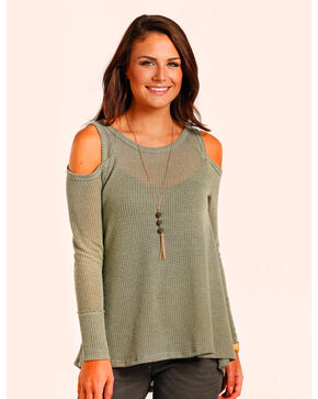Panhandle Women's Waffle Knit Swing Top , Olive, hi-res
