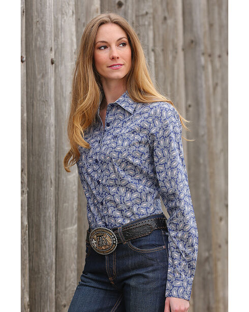 Cinch Women's Blue Paisley Print Western Shirt , Blue, hi-res