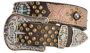 Ariat Bedecked Crackle Leather Overlay Belt, Brown, hi-res