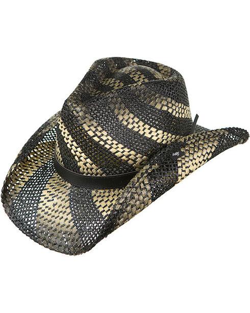 Peter Grimm Women's Black Striped Straw Hat, Black, hi-res