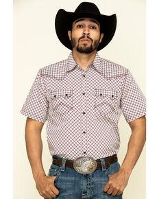 Cody James Men's Kaleidoscope Geo Print Short Sleeve Western Shirt , Maroon, hi-res