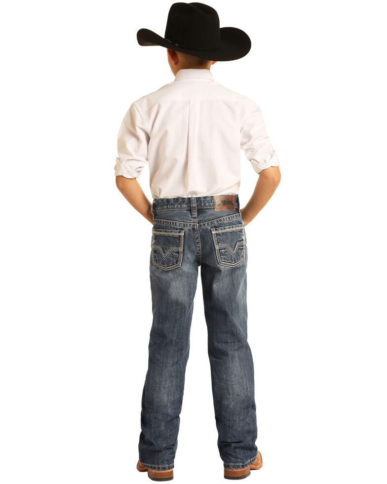 Rock & Roll Denim Boys' Medium Vintage Classic Bootcut Jeans , Blue, hi-res