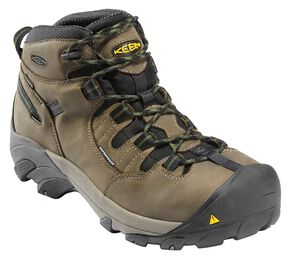 Keen Men's Detroit Mid Waterproof Boots - Steel Toe, Olive, hi-res