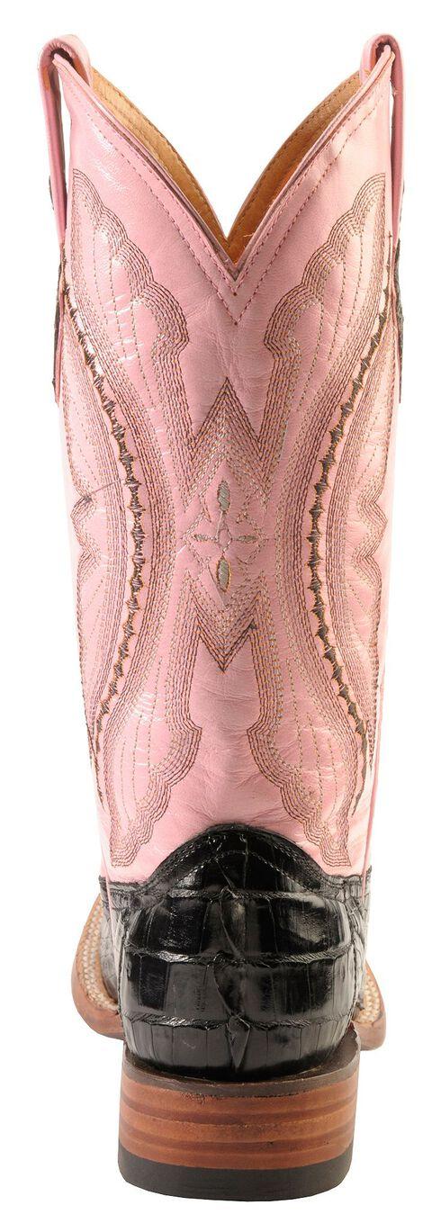 Ferrini Black Hornback Caiman Cowgirl Boots - Wide Square Toe, Black, hi-res
