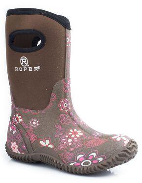 Roper Girls' Pink Floral Neoprene Boots, Brown, hi-res