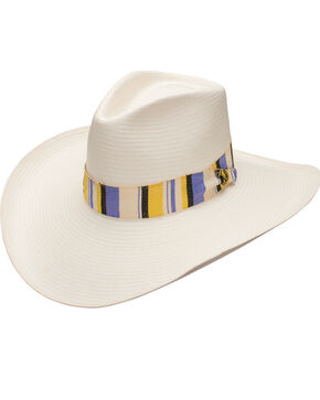 Stetson Women's Baby Don't Go Shantung Straw Hat, Natural/gold/purple, hi-res