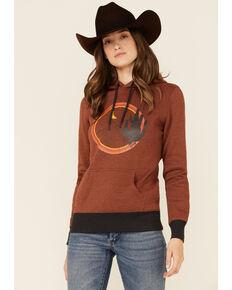 HOOey Women's Burnt Orange Desert Graphic Pullover Hoodie, Rust Copper, hi-res