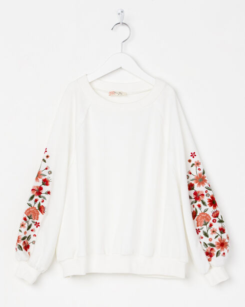 Miss Me Girls' White Freshly Picked Pullover Sweater , White, hi-res