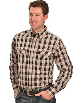 Gibson Trading Co. Black and Tan Plaid Long Sleeve Shirt, Black, hi-res