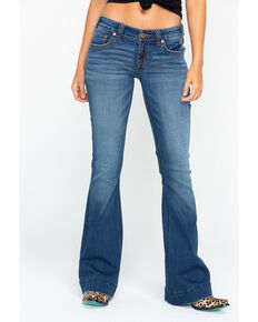 "Rock & Roll Cowgirl Women's Curved ""V"" Trouser Jeans , Blue, hi-res"