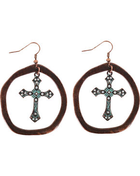 Shyanne Women's Antiqued Hoop Cross Earrings , Turquoise, hi-res