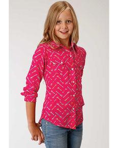 Roper Girls' Arrow Print Long Sleeve Western Shirt, Pink, hi-res
