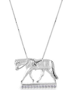 Kelly Herd Women's English Horse Necklace , Silver, hi-res