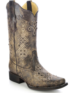 Corral Women's Studded Embroidered Cowgirl Boots - Square Toe, Black, hi-res