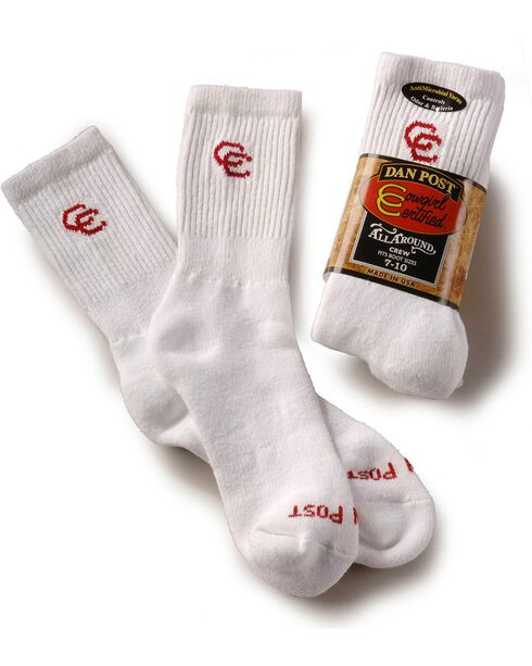 Dan Post Womens Cowboy Certified Crew Socks (2-Pack), White, hi-res