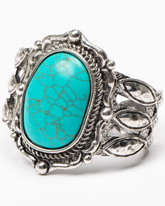 Shyanne Women's Roaming West Large Turquoise Stone Stretch Cuff, Silver, hi-res