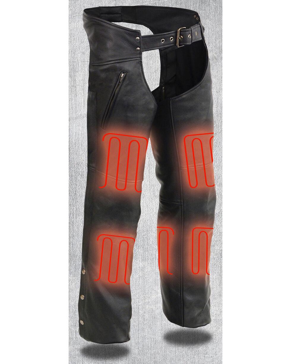 Milwaukee Leather Men's Heated Zipper Side Pocket Chaps - 3X, Black, hi-res