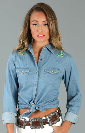 Wrangler Women's Blue Embroidered Yoke Denim Shirt, Blue, hi-res