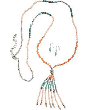 Blazin Roxx Beaded Fringe Necklace & Earrings Set, Silver, hi-res