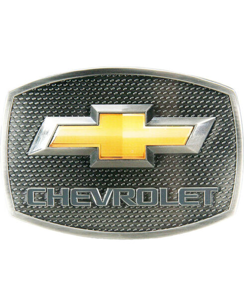 Western Express Men's Silver Chevy Gold Bow Tie Buckle , Silver, hi-res