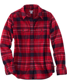 24398b30699a08 Carhartt Womens Purple Rugged Flex Hamilton Flannel Work Shirt , Dark Red,  hi-res