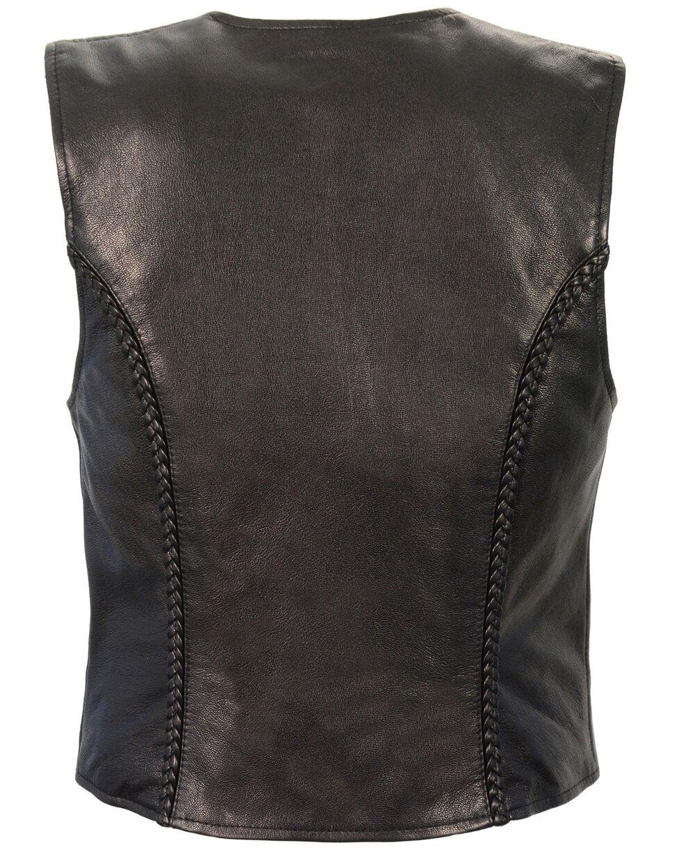 Milwaukee Leather Women's Lightweight Zipper Front Braided Vest - 4X, Black, hi-res