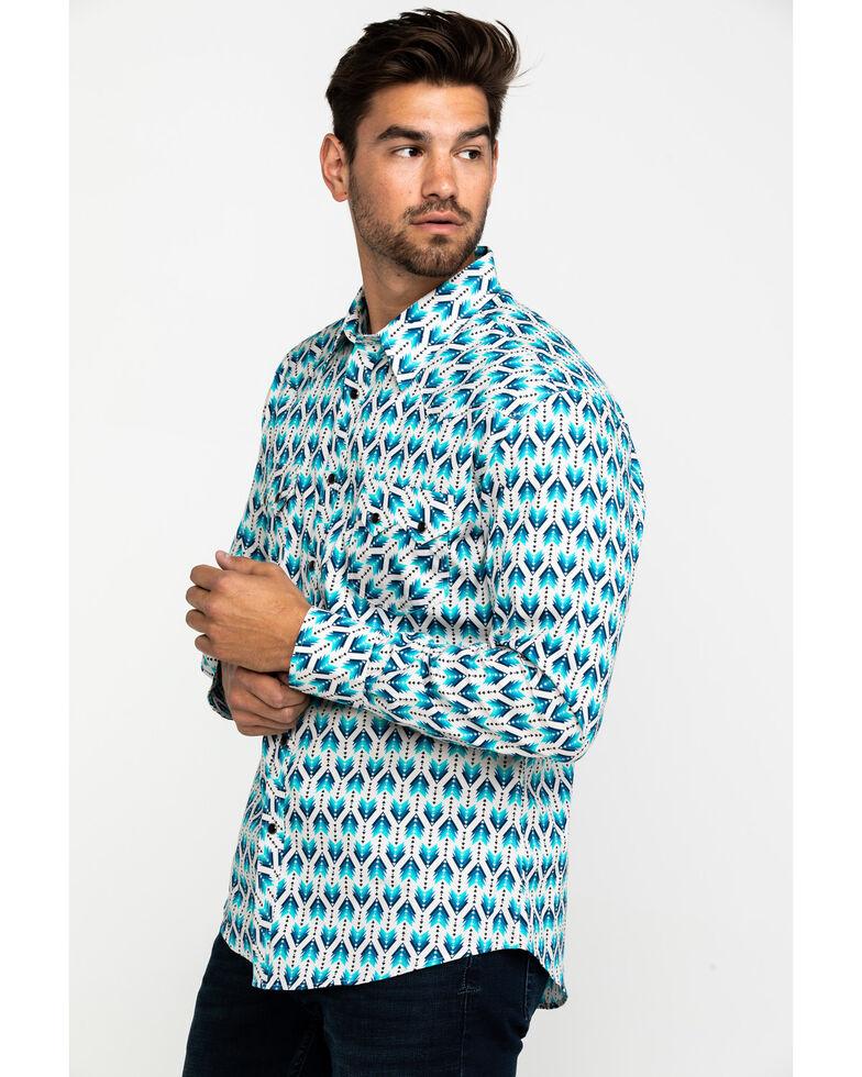 Rock & Roll Denim Men's Ombre Arrow Print Long Sleeve Western Shirt , Teal, hi-res