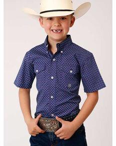Amarillo Boys' Wildwood Foulard Geo Print Short Sleeve Button-Down Western Shirt , Purple, hi-res