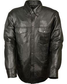 Milwaukee Leather Men's Black Lightweight Leather Shirt , Black, hi-res