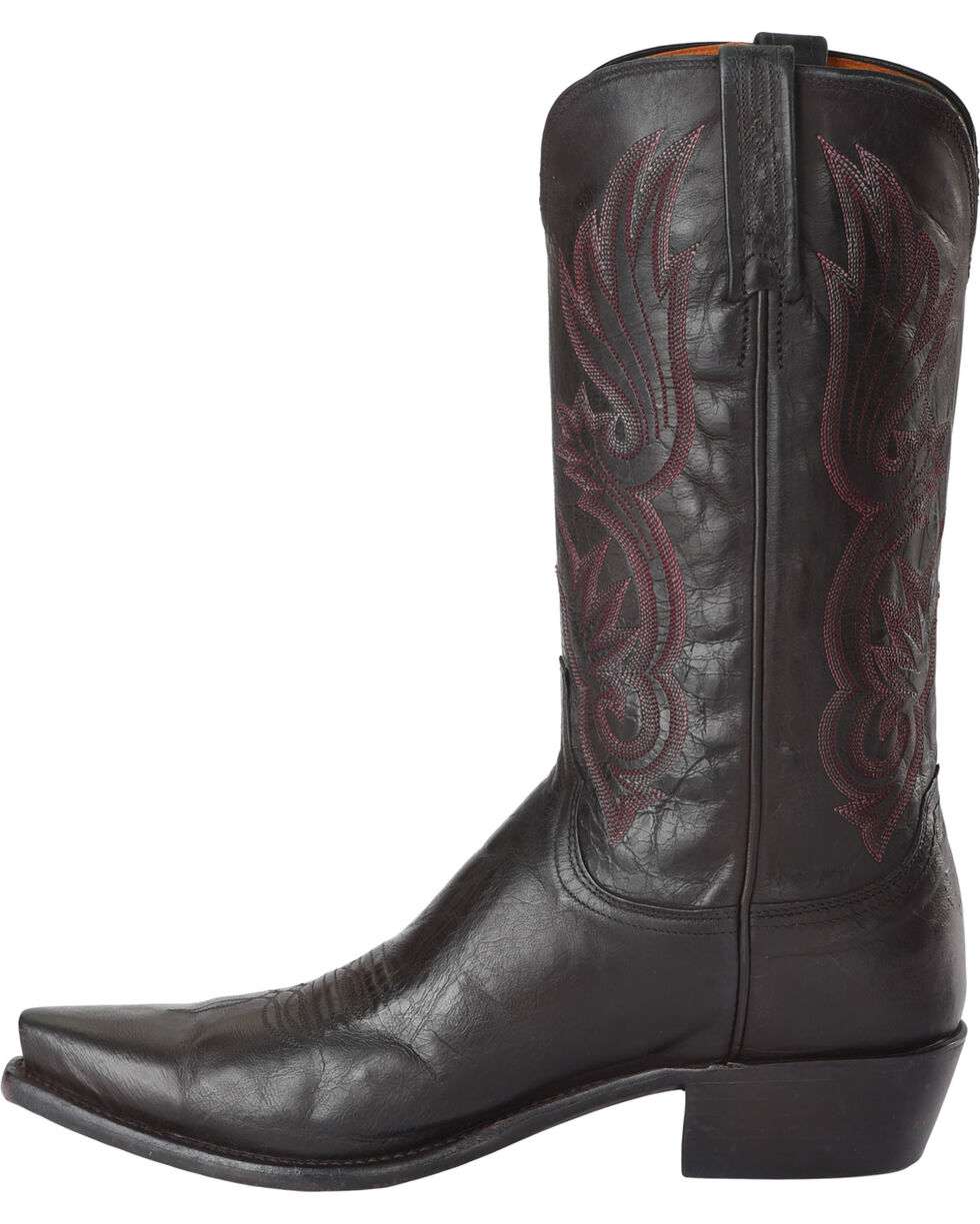 Lucchese Men's Handmade Whittaker Antique Bordeaux Mad Dog Goat Western Boots - Snip Toe, Wine, hi-res