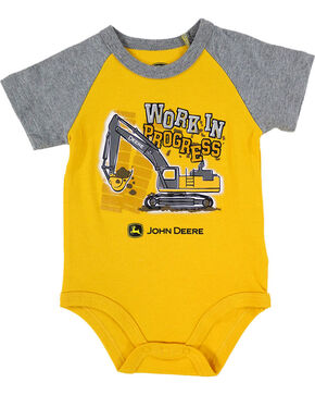 John Deere Infant Boys' Yellow Work In Progress Onesie , Yellow, hi-res