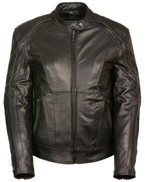 Milwaukee Leather Women's Stud & Wing Leather Jacket, Black, hi-res