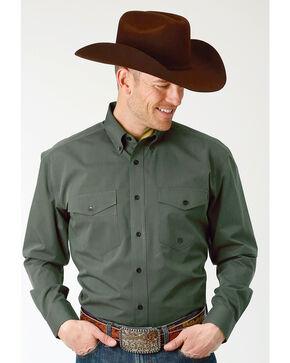 Roper Men's Solid Green Long Sleeve Button Down Shirt , Green, hi-res