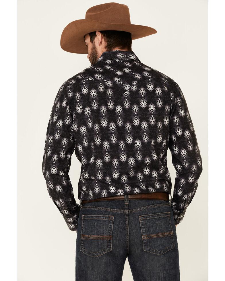 Rock & Roll Denim Men's Black Aztec Print Long Sleeve Western Shirt , Black, hi-res