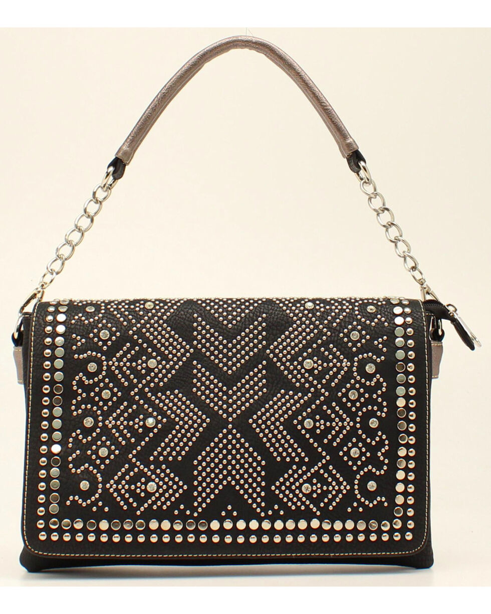 Blazin Roxx Women's Studded Rhinestone Shoulder Bag, Black, hi-res