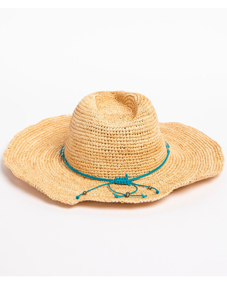 ále by Alessandra Women's Cody Beaded Band Crochet Raffia Hat, Turquoise, hi-res