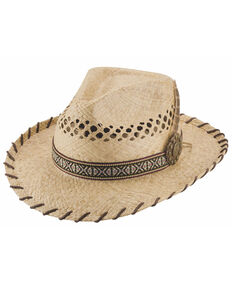 Bullhide Natural Delirium Raffia Aztec Band Western Straw Hat  , Natural, hi-res