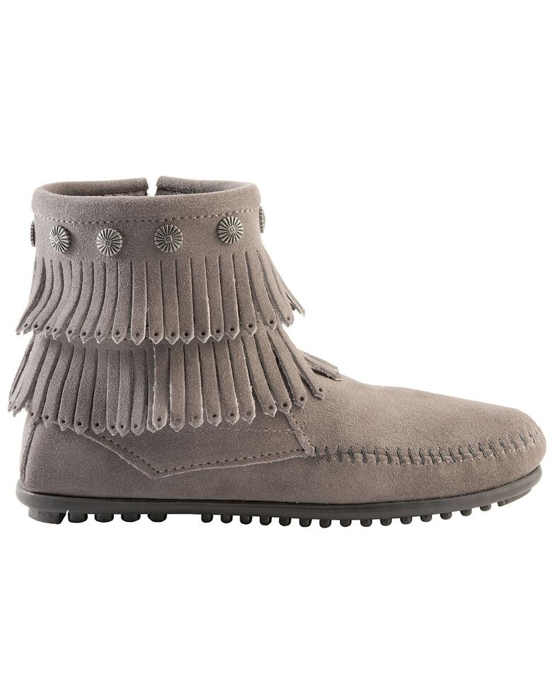 Minnetonka Double Fringe Side Zip Moccasin, Grey, hi-res