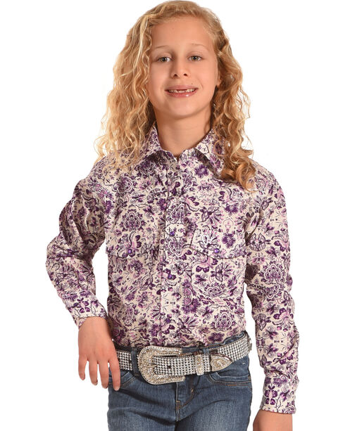 Cowgirl Hardware Toddler Girls' Paisley Peacock Long Sleeve Shirt , Purple, hi-res
