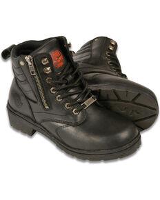 Milwaukee Leather Women's Black Side Zipper Boots - Round Toe , Black, hi-res